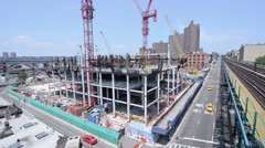 New Construction Site in Harlem Manhattan New York City NYC Stock Footage