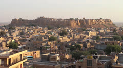 India Rajasthan Jaisalmer walled fort and city buildings  Stock Footage