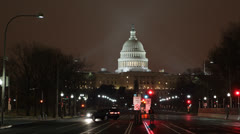 Washington DC Congress Night Pennsylvania Avenue United States Capitol Building Stock Footage