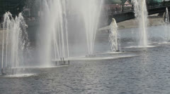 Fountains on Vodootvodniy channel of Moscow-river, Moscow, Russia Stock Footage