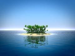 Tropical island in the ocean - stock illustration