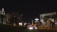 Busy street near to MGM Grand resort  by night,  Las Vegas Strip, Las Vegas, Nev Stock Footage