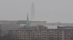 Aerial View of Monument Memorial, Snow Storm in Washington DC, Federal Buildings Stock Footage