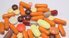Close up footage of pills Stock Footage