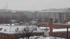 Aerial View Monument Memorial, Snow Storm in Washington DC, liittovaltion Rakenn Arkistovideo