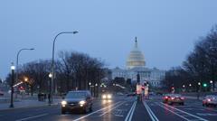 US Congress Pennsylvania Avenue Capitol Building Washington DC Night Light Dusk - stock footage