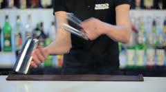Night club cocktail preparation Stock Footage