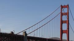 Famous Golden Gate Bridge, San Francisco Bay, California, Boat Ship Cars Traffic Stock Footage