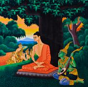 traditional thai mural painting - stock photo