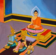 Stock Photo of traditional thai mural painting