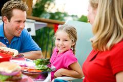 Stock Photo of summer: little girl during family dinner