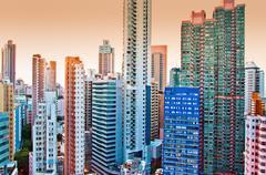 Hong Kong island tall buildings Stock Photos
