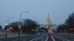 Illuminated Evening US Capitol Building Washington DC, Congress Dusk Light Night - stock footage
