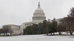 Snow Lawn, United States Capitol Building in Washington DC, USA Congress Stock Footage