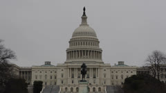 United States Capitol Building in Washington DC, USA Congress, Pool Rainy Day Stock Footage