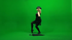 umbrella women dancing  isolated green screen - stock footage