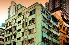 Decaying buildings in Hong Kong Stock Photos