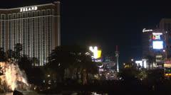 Treasure Island, Encore, Wynn, Riviera, Stratosphere and traffic street by night Stock Footage