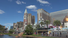 Venetian tower and traffic street by day Casino Royale Las Vegas Strip USA Stock Footage