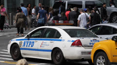 NYPD Car, New York Police Department, Car Traffic, Yellow Cab Pedestrians Crowds Stock Footage