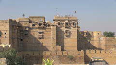 India Rajasthan Jaisalmer palace with observation deck  Stock Footage