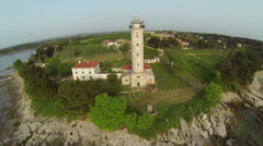 AERIAL view of the Lighthouse Stock Footage