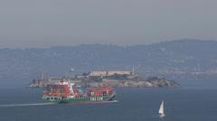 Alcatraz Island, San Francisco Bay Area, Container Ship, Cargo ships passing Stock Footage
