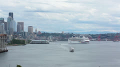 Cruise ship departing Seattle port urban city center HD 6833 Stock Footage