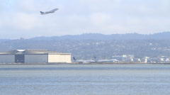 Plane,airport,take,off,san,francisco,california,airport,water,ocean,pacific Stock Footage