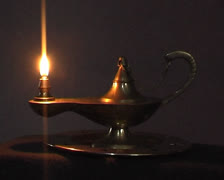 Old antique magic lamp burning Stock Footage