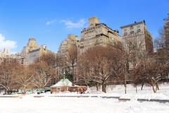 New york city manhattan central park in winter Stock Photos