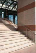 Granite staircase with metal railing Stock Photos