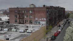 Stock Video Footage of Graffiti on Brick Wall Building, Colorful Queens Boroughs , New York City, USA