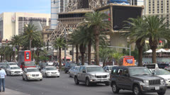 Traffic street and Paris resort by day, Hotel and Casino, Las Vegas Strip, USA Stock Footage