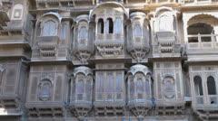 India Rajasthan Jaisalmer bay windows on Patwa haveli  Stock Footage