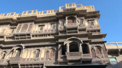 India Rajasthan Jaisalmer Patwa haveli elaborate facade  Stock Footage