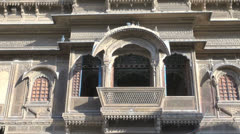 India Rajasthan Jaisalmer Patwa haveli projecting windows  Stock Footage