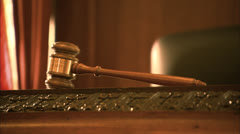 CU Judges Gavel Zoom to Judges Panel, Buffalo Courtroom HD Video Stock Footage
