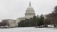 Stock Video Footage of Snow Lawn, United States Capitol Building in Washington DC, USA Congress