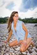 Young attractive woman, 25, caucasian, in bikini at the frio river near conca Stock Photos