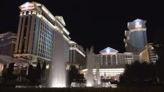Caesars Palace Resort Hotel Casino by night, Strip, Las Vegas, Nevada, USA, Amer Stock Footage