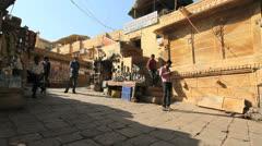 India Rajasthan Jaisalmer plaza  Stock Footage