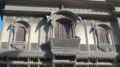 India Rajasthan Jaisalmer Patwa building trapezoid balcony Stock Footage