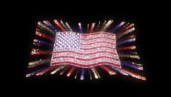 American Flag with Red, White and Blue Streamers Stock Footage