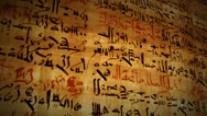 Stock Video Footage of Ancient Script Language Written on Papyrus Scroll Paper