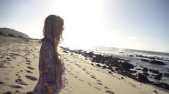 Stock footage Hawaii -beautiful girl portrait on windy beach Stock Footage