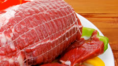 uncooked meat with vegetables - stock footage