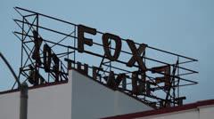 USA Fox Theater neon sign 1 Stock Footage