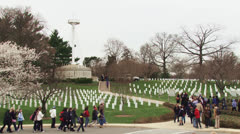 Tourists and graves at the Arlington National Cemetery Stock Footage