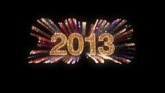 """""""2013"""" Fireworks with Red, White and Blue Streamers Stock Footage"""